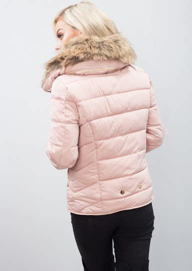 K057 Parka Collar Dusty Gn brown faux fur collar quilted padded puffer jacket coat dusty pink