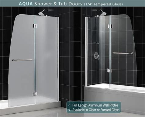 glass doors for bathtubs dreamline showers aqua tub door frosted glass frameless bathtub door