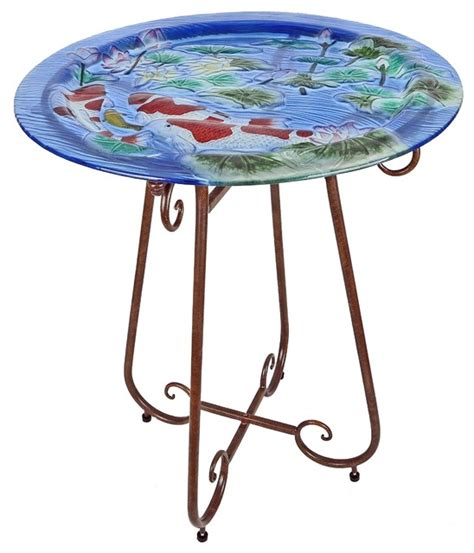 Bistro Tables Outdoor by Painted Glass Bistro Table Koi Pond Traditional