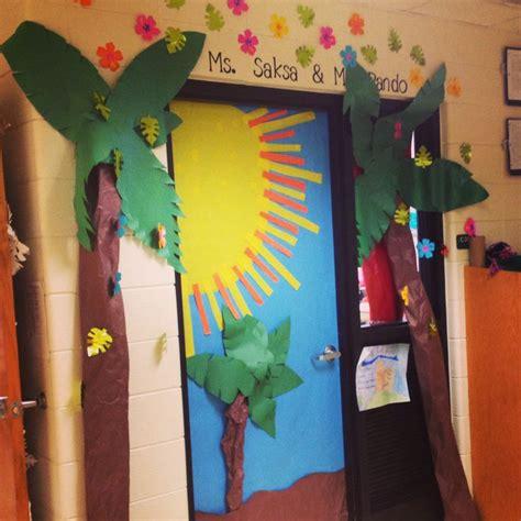 tropical inspired classroom door classroom door decorating pinterest classroom door