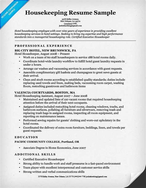 Hospital Housekeeping Resume Examples by Housekeeping Resume Sample Resume Companion