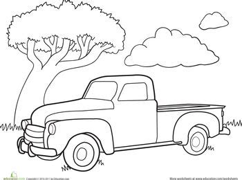 car coloring pages for kindergarten color a car classic truck classic trucks and worksheets