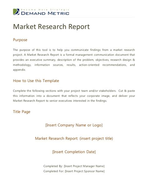 marketing research report sle market research report
