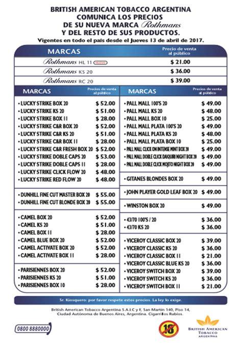 aumento cigarrillos 2016 lista de precios lista de precios cigarrillos 2016 nueva lista de precios