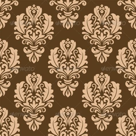 Repeat Pattern Motifs | repeat floral motifs on a brown background by seamartini