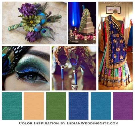 indian wedding color inspiration peacock wedding reception