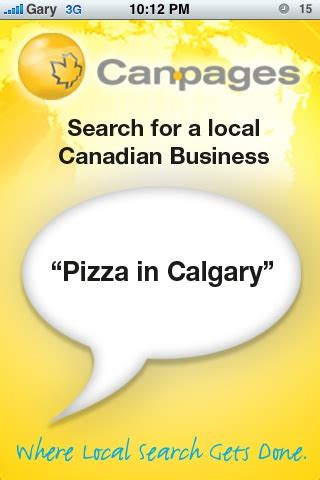 Canpages Search Canpages Voice Powered Iphone App Search Canadian Businesses Iphone In Canada