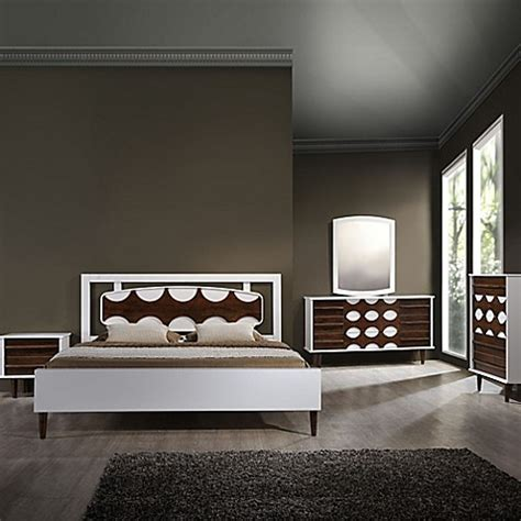 seattle bedroom furniture zuo 174 seattle bedroom set in walnut white bed bath beyond