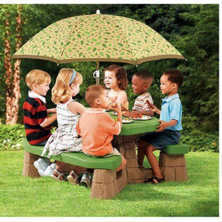 step 2 sandbox with bench and umbrella step2 picnic table with umbrella walmart com