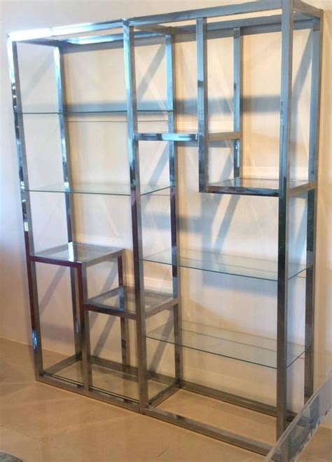 etagere 6 cases chrome etagere vintage display shelves ten shelf glass