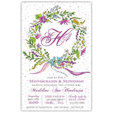 Monogram Baby Shower Invitations by Monogram Floral Wreath Shower Invitations Paperstyle