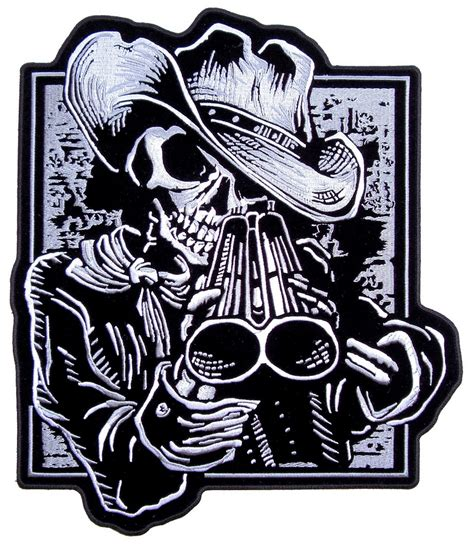 cowboy skeleton with shotgun embroidered biker patch