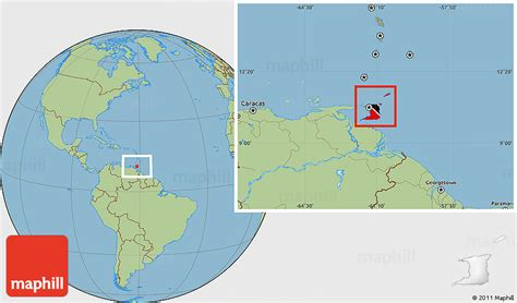 and tobago on the world map flag location map of and tobago savanna style