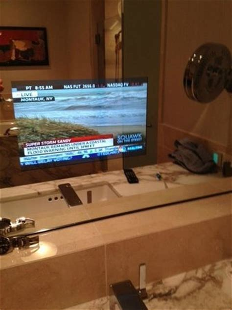 bathroom mirror with built in tv tv in mirror picture of four seasons hotel seattle