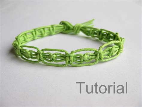 Simple Macrame Bracelet Patterns - easy knotted bracelet pdf macrame pattern green