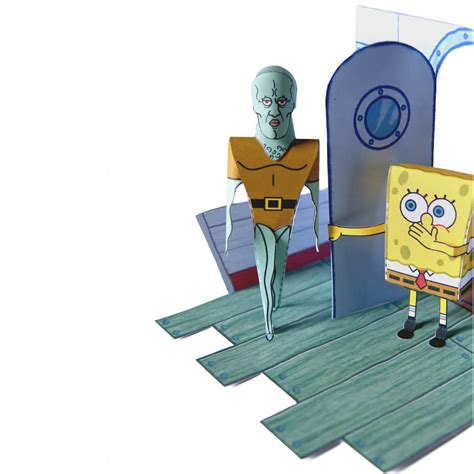 sponge paper craft handsome squidward tentacles and amazed spongebob
