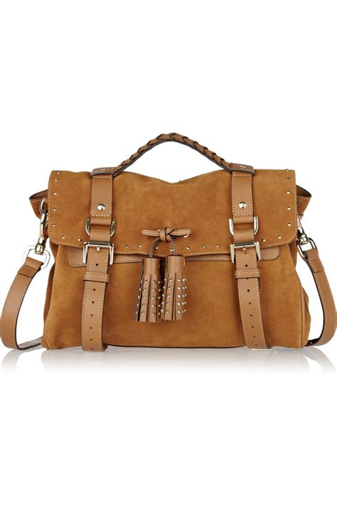 Stradivarius Backpack With Tassels 1 lyst mulberry tassel studded suede bag in brown