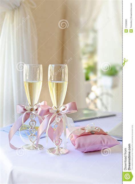 Wedding glasses stock image. Image of flowers, bridal