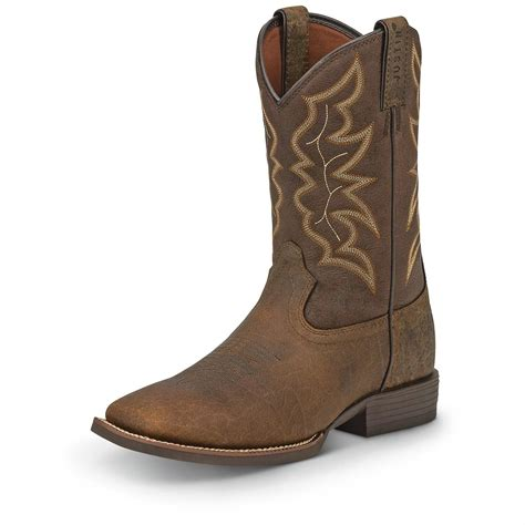 mens justin square toe cowboy boots justin s stede square toe western boots 676210
