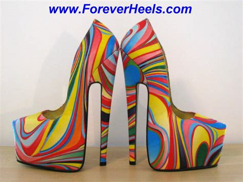 rainbow high heels multi colored psychedelic rainbow heels high heels daily