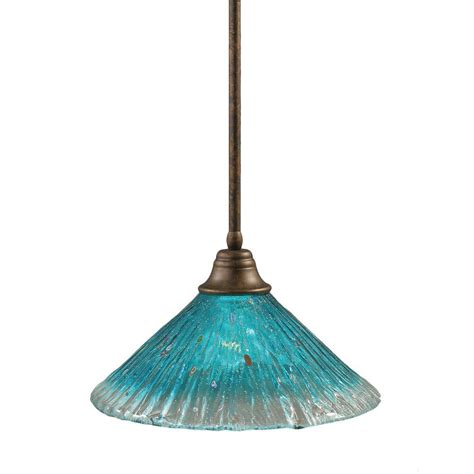 Teal Glass Pendant Light Filament Design Concord 1 Light Bronze Pendant With Teal Glass Cli Tl5004970 The Home