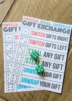 printable dice christmas game the best gift exchange game ever switch steal or unwrap