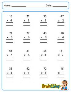 multiplication 1 digit by 2 digits worksheets
