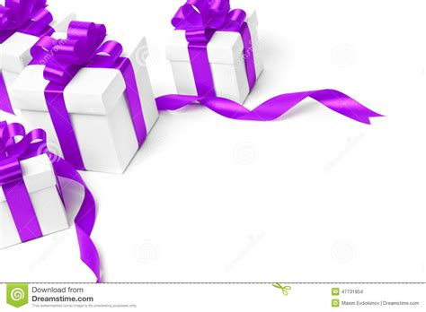 white gift box with purple ribbon bow stock photo image