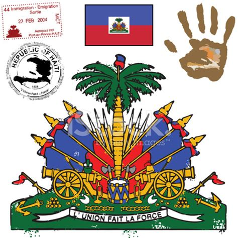 haitian flag coat of arms and graphic set stock vector