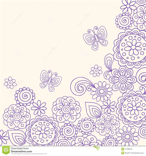 doodle flowers vector doodle henna flowers butterfly vector royalty free stock