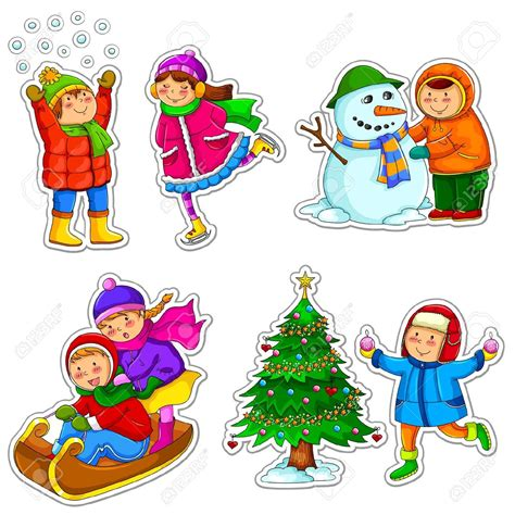 clipart inverno season clipart winter activity pencil and in color