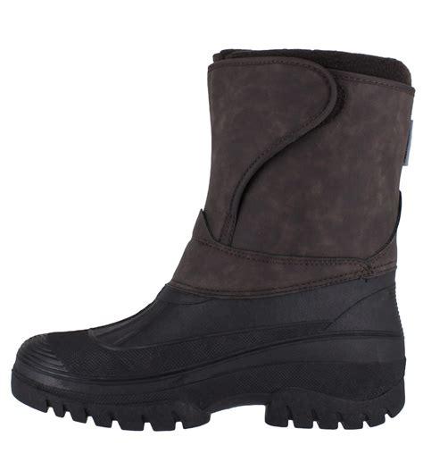 mens velcro winter boots groundwork ls89nub mens brown nubuck style velcro winter