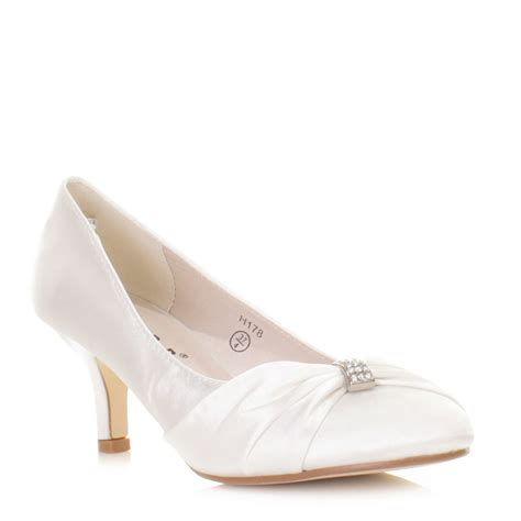 Womens White Wedding Shoes by Womens Low Kitten Heel Bridal Wedding White Satin Diamante