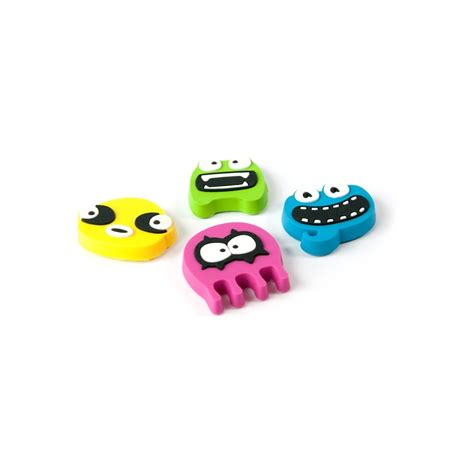 Assortment Of Four Magnets assorted rubber expression magnets monsters