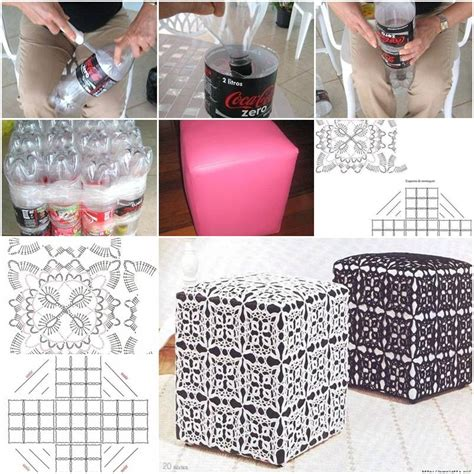 out of plastic how to make ottoman out of plastic water bottles step by
