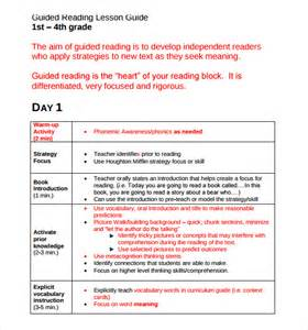 guided reading lesson plan template kindergarten sle guided reading lesson plan 8 documents in pdf