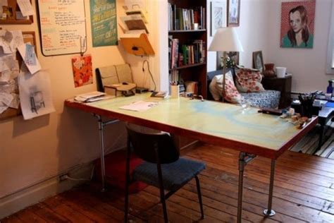 Diy Desk From Door Recycled Steel Pipes Furniture And Home Accessories