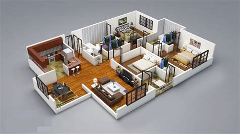 3 Bedroom Home 3 Bedroom House Plans 3d Design Wood Floor Apartment