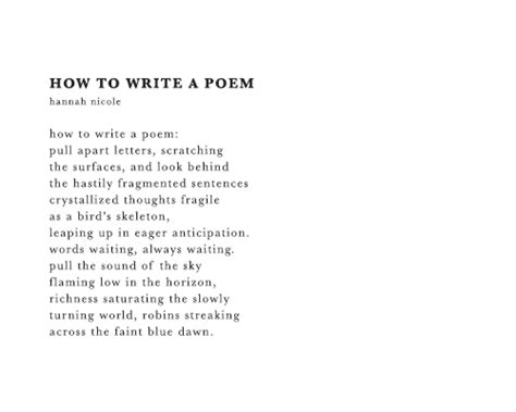 how to write a poem on