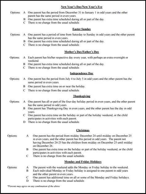 custody schedule template custody schedule template parenting plans