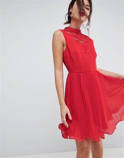 Sleeveless Pleated Mini Dress lyst asos sleeveless lace insert pleated mini dress in