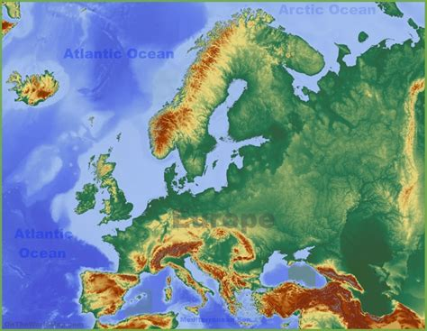 geographical map of europe physical map of europe