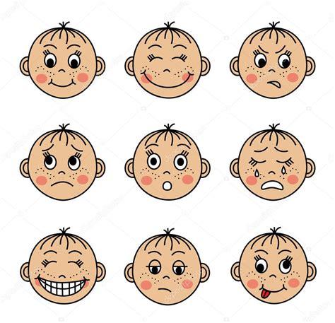 emoticonos de dibujos animados con cara enfadada sobre conjunto de caras de los ni 241 os con diferentes emociones