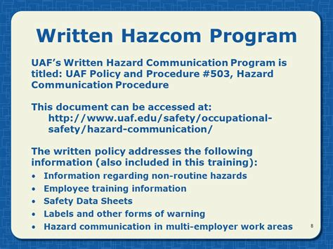 written plan template hazard communication general revised april ppt