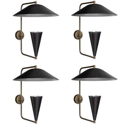 Black And Brass Sconce Black Metal Brass Cone Sconce At 1stdibs