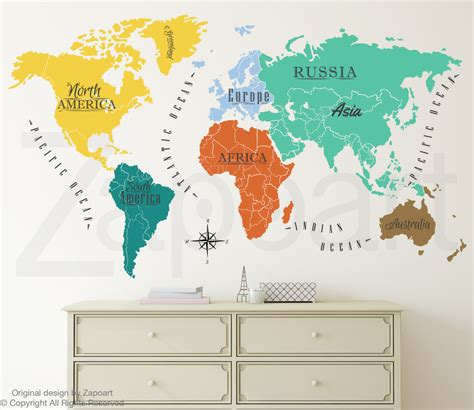 world map with country names decal world map w continents names wall decal