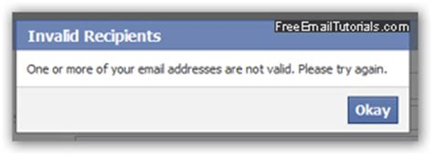 email format is invalid send an email message from facebook mail