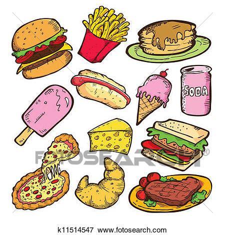 clipart cibo clip cibo spazzatura scarabocchiare k11514547