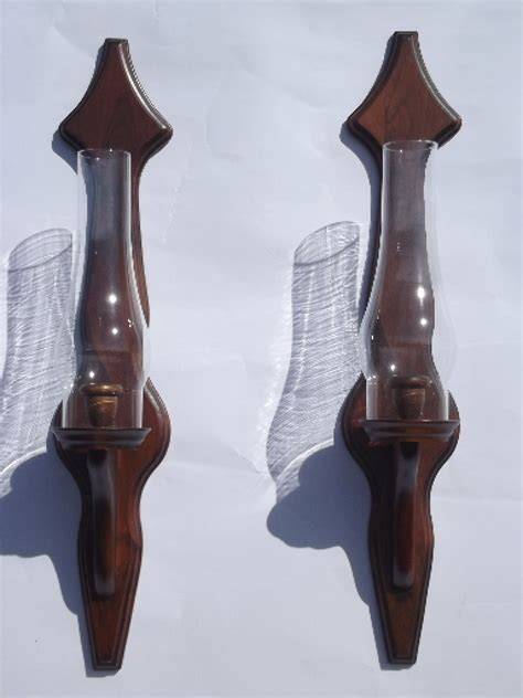 Wood Wall Sconce Colonial Wood Wall Sconces W Hurricane Candle Shades Vintage Oregonuforeview