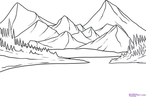 Drawing Mountains by How To Draw A Lake Step By Step Landscapes Landmarks